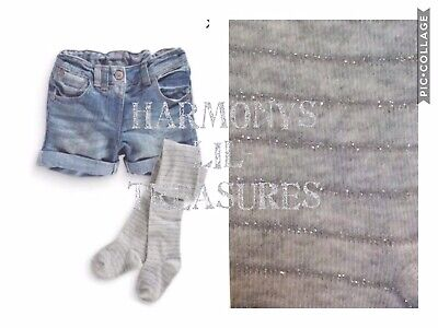 BNWT Girls NEXT Mid Blue Denim Shorts & Tights Set. AGE 18-24 MONTHS