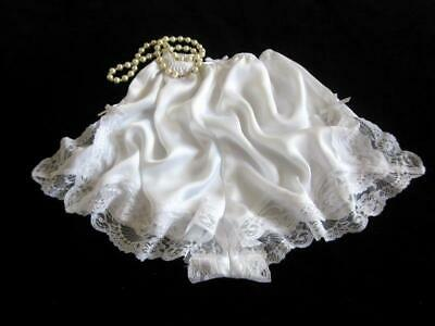 Womens French Knickers Lacy White Satin L Silky Drapey Panties Vintage Style