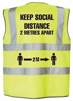 hi vis vest Yellow  Keep Social Distance 2 Mtrs Brand New Large