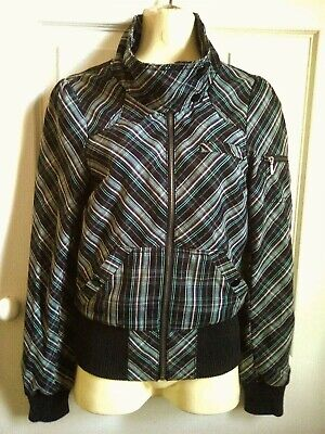 """H&M DIVIDED ladies girls black green bomber jacket size 6, PIT-PIT 16"""" Exc cond"""
