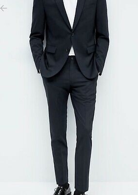 NWT ZARA MAN Basic Collection Tapered Suit Pants Size 29 Black