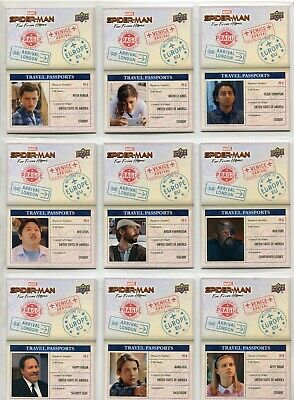 Spiderman Far From Home Complete 10 Card Chase Set Travel Passports
