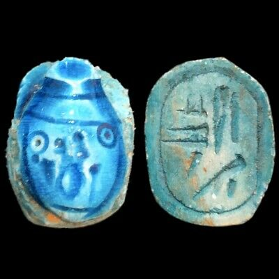 Beautiful Ancient Egyptian Blue Glazed Scarab 300 Bc (4)