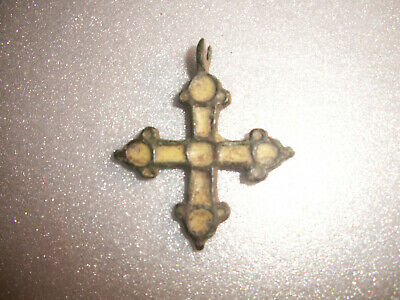 Estate Sale - Ancient Authentic Viking Bronze Cross Pendant 9-10 AD !