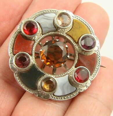 Boxed antique Victorian c1865 sterling silver Scottish agate citrine brooch pin