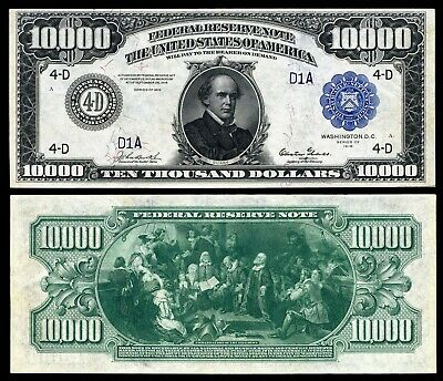 US $10,000 Dollar Bill, Series 1918 Large size with BLUE seal