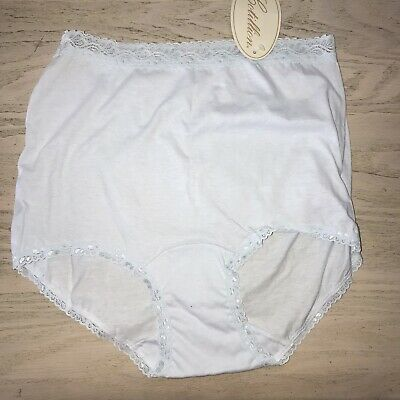 Vtg NOS Cotillion Brief Panties Light Blue Lace Trim Size 6 Made in USA