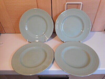 Vintage Green Woods Ware Beryl 4 tea plates 6 7/8 inches Utility Ware set 1