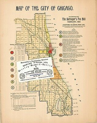 Chicago Antique 1894 TOTALLY UNIQUE Map For Ancestry/Genealogy &History Research