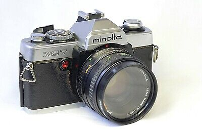 Minolta XG7 SLR 35mm film Camera With MD Rokkor-X 50mm f/1.7 Lens and case
