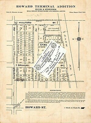 Chicago 1923 Map For Ancestry/Genealogy & History Research-Howard Terminal ADD