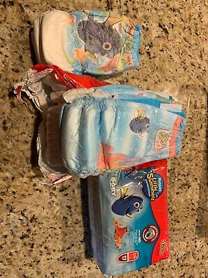 2 Pack Huggies Little Swimmers Sz L  32+lb Nemo & Finding Dory 33 Large & 5 Med
