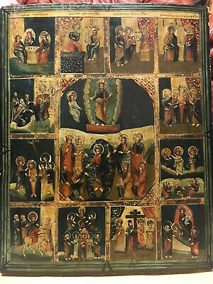 Antik Ikone Russland Festtage Large Russian Icon Feasts Resurrection