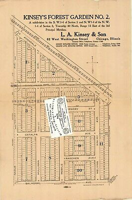 Chicago 1915 Map For Ancestry/Genealogy Research - Kinsey's Forest Garden No.2