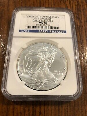 2011 S Silver American Eagle $1 NGC MS70 Early Releases 25th Anniversary