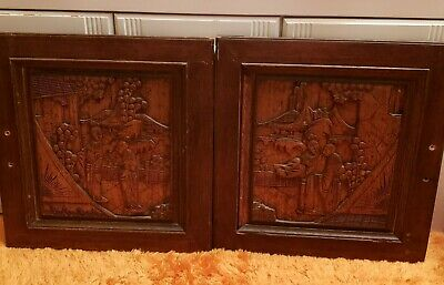 Antique Pair of Asian Wood Carved Panels Hand Crafted Cabinet Doors for Wall+