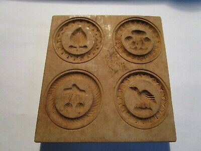 HAND CARVED FOLK ART WOODEN BUTTER PRINT MOLD PRESS SIGNED LIMONT 4 Pictures