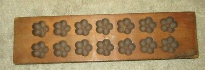 Antique Hand Carved Folk Art Wooden Butter Print Mold Press 14 Flowers