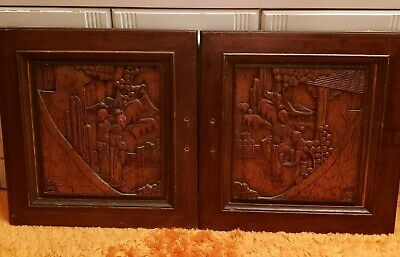 NICE Antique Pair of Asian Wood Carved Panels Hand Crafted Wall Decor ~ Doors