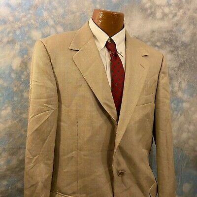 Talbot's 44 R Tan Patterned Wool Two Button Men's Coat Blazer ITALY