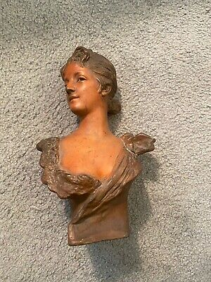 Antique Signed French Spelter Metal Art Nouveau Lady Bust NR