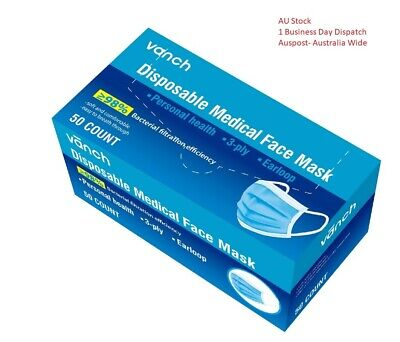 1 box of 50 x 3-Ply Disposable Surgical Face Medical Dust Massk Flu 3 layers