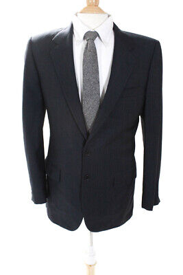 Abla Mens Two Button Notched Lapel Blazer Jacket Blue Wool Size 38