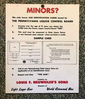Rare Neuweiler Beer - Brewing Co Pa Liquor Control Board Card Sign Allentown Pa