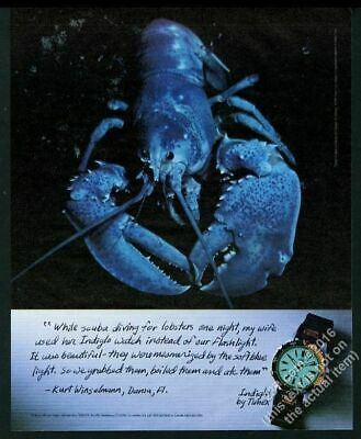 1995 blue lobster COOL photo Timex Indiglo watch vintage print ad