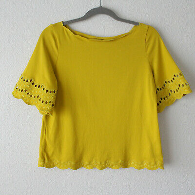 Kate Spade New York Yellow Embroidered Short Sleeve Top - Women's Size XS