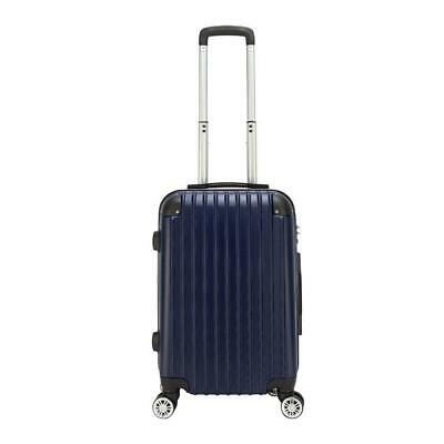 "20"" Hardshell Luggage Travel Bag ABS Trolley Suitcase 4 Wheel Case Blue w/Lock"