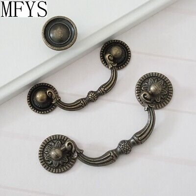 "3"" 3.75""Vintage Drop Bail Dresser Drawer Pull Antique Bronze Cabinet Handle Knob"