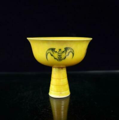 collect china old hand-made yellow glaze porcelain bat painting goblet cup /Wb02