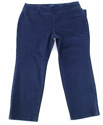 Charter Club Women's Blue Size 20W Plus Slim Leg Pull On Pants Stretch $69 #215
