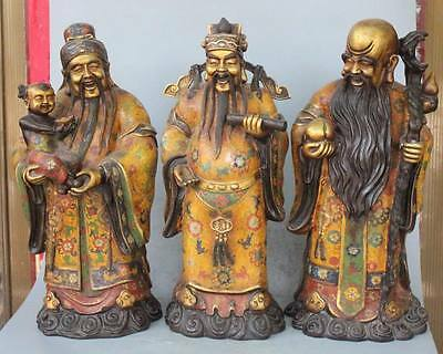 "20""Chinese Cloisonne Enamel 24k Gold Fu Lu Shou 3 Mammon immortal God Set Statue"