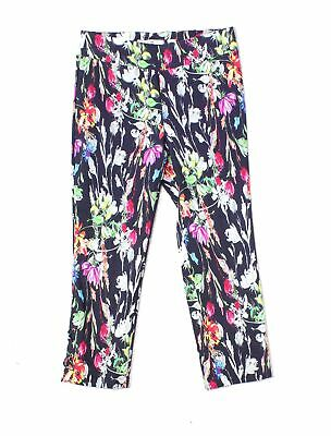 Ilusion Women's Black Size 10 Floral Print Pull On Dress Pants Stretch $88 #803