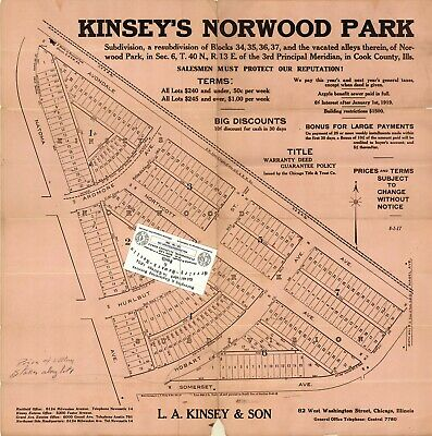 Chicago 1917 Map For Ancestry/Genealogy & History Research - Norwood Park SUB