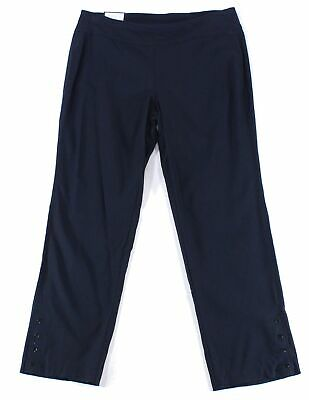 Charter Club Women's Blue Size 18W Plus Slim Leg Jacquard Pants Stretch $79 #446