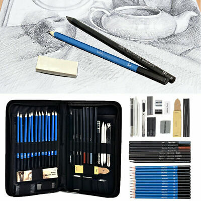 42pc Professional Sketching Drawing Set Artists Art Graphite Charcoal Pencil Kit