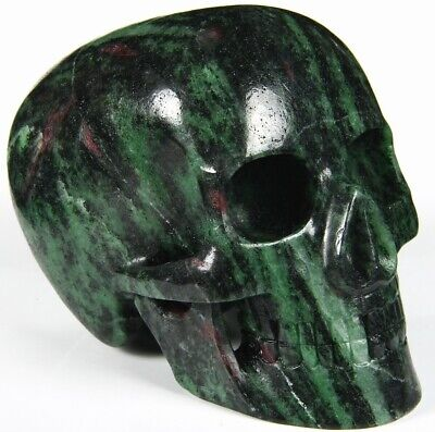 """Huge 5.1"""" RUBY ZOISITE Carved Mitchell-Hedges Crystal Skull Replica #424"""