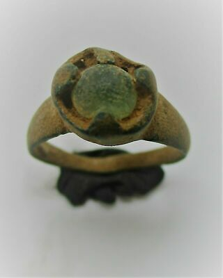 Ancient Viking Norse Bronze Ring With Stone Inset 900-1100 Ad