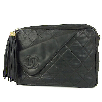 Auth CHANEL CC Coco Logos Matelasse Quilted Leather Tassel Clutch Bag 11264bkac