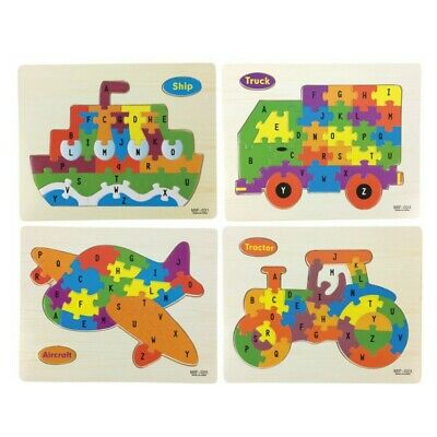 ABC Wooden Vehicle Boat Plane Jigsaw Puzzle Toy Game 26 Pieces Stocking Filler