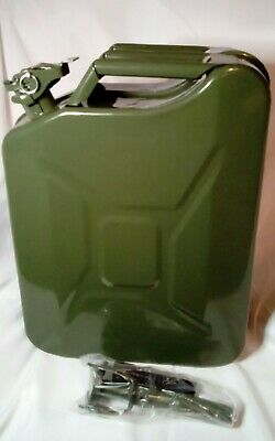 Green 20 Litre Metal Jerry Can For Fuel /Petrol / Diesel /Gas/Oil With Spout New