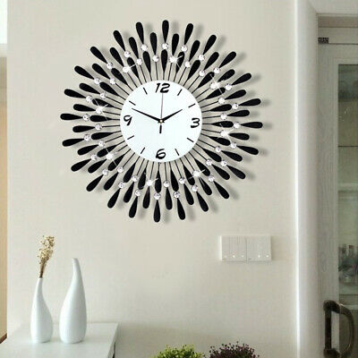 Large Round Wall Clock Diamante Beaded Jeweled Black Metal Spikes Sunburst Decor