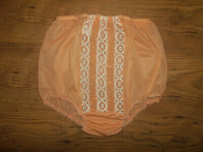 Rare Vintage 1950s/60s Ultra Sheer Gathered Nylon Lacy Full Panties Knickers M