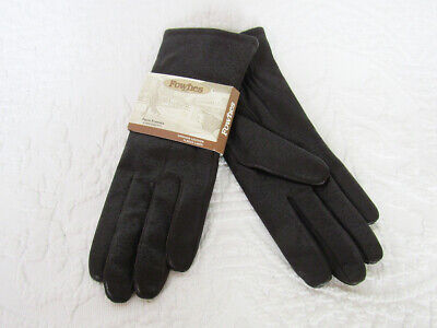 NWT Fownes Dark Brown Leather Knit Lined Women's Gloves Handcrafted size 8.5