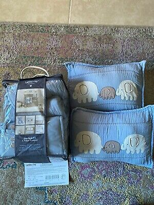 Lambs & Ivy Elephant Tales Collection Baby Crib Bumper 6 Piece Set With Pillows