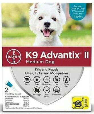 Bayer K9 Advantix II Flea & Tick Control Treatment Medium Dog 11-20 lbs 2-Pack