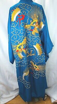 Vintage Silk Robe Women's Men's OSFA Dragon Embroidered Chinese No Belt Ornate